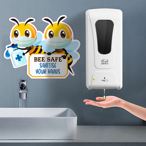 Creche/School: Bee Safe Sanitise Your Hands Wall Sticker