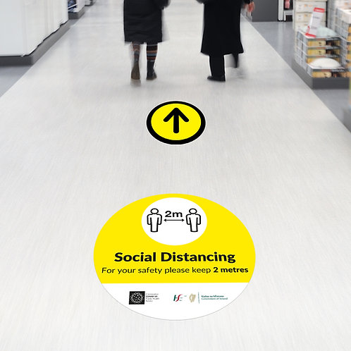 Coronavirus COVID-19: Circle Social Distancing Floor Stickers