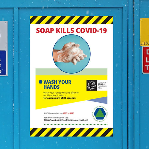 Coronavirus COVID-19 CIF Construction Site Safety Sign - Hand Washing
