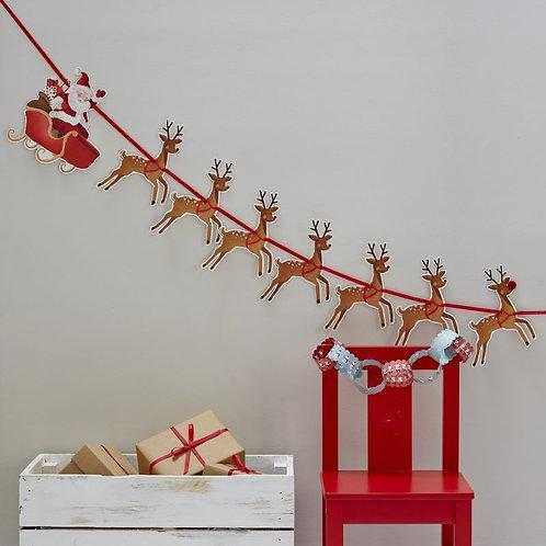 Festive Reindeer & Santa Sleigh Bunting - Christmas Snowman
