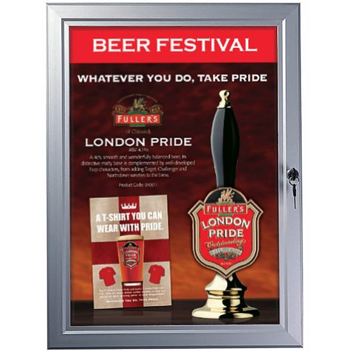 "Outdoor Lockable Poster Case - Silver 30"" x 40"""