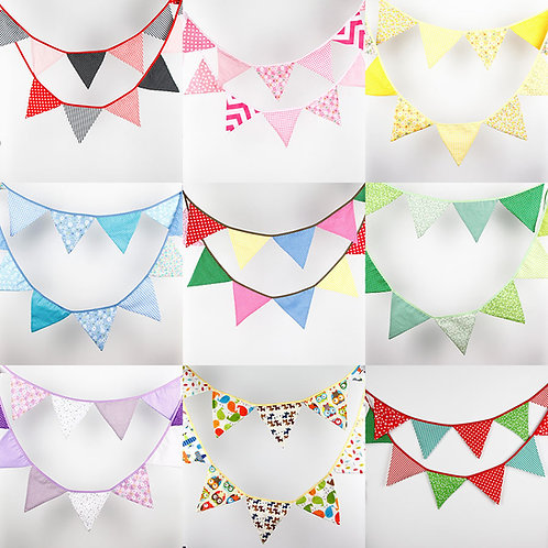 Colourful Fabric Bunting (3.2M)