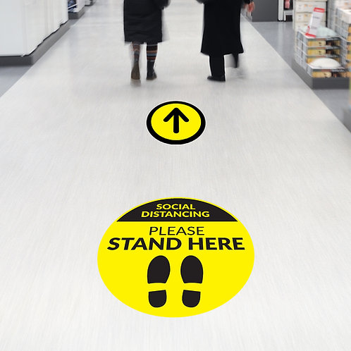Coronavirus COVID-19: Circle Stand Here Floor Stickers