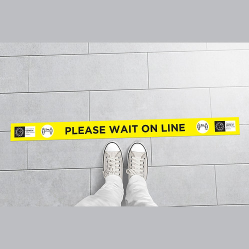 Coronavirus COVID-19: WAIT ON LINE Floor Stickers