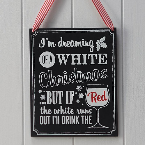 Christmas Wooden Chalkboard Wine Sign - Vintage Noel