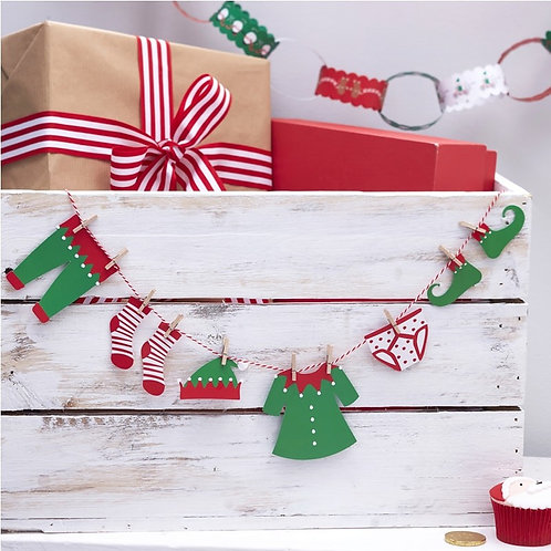 Elf Clothing Washing Line Bunting - Santa & Friends