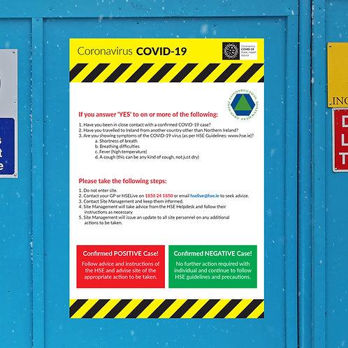 Coronavirus COVID-19 CIF Construction Site Safety Sign - Entrance Questionnaire