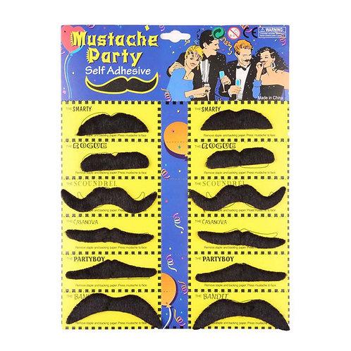 Self Adhesive Fake Moustaches (12pc)