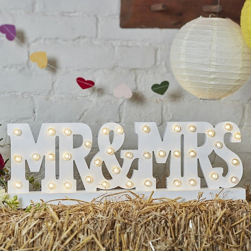 Mr & Mrs Battery Operated Light Up Sign