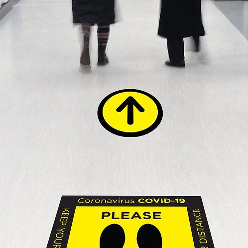 Coronavirus COVID-19: Queue Arrow Floor Sticker