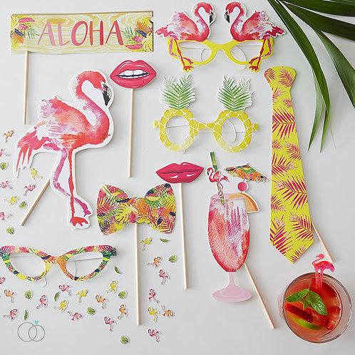 Summer Party Photo Booth Props - Flamingo Fun