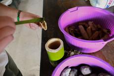 Oportunidade ímpar de provar dos alimentos tradicionais dos Guarani. Kawré e mel. Foto: Isadora Manerich.