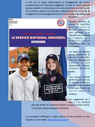 Le SNU, une opportunité pour les jeunes citoyens.