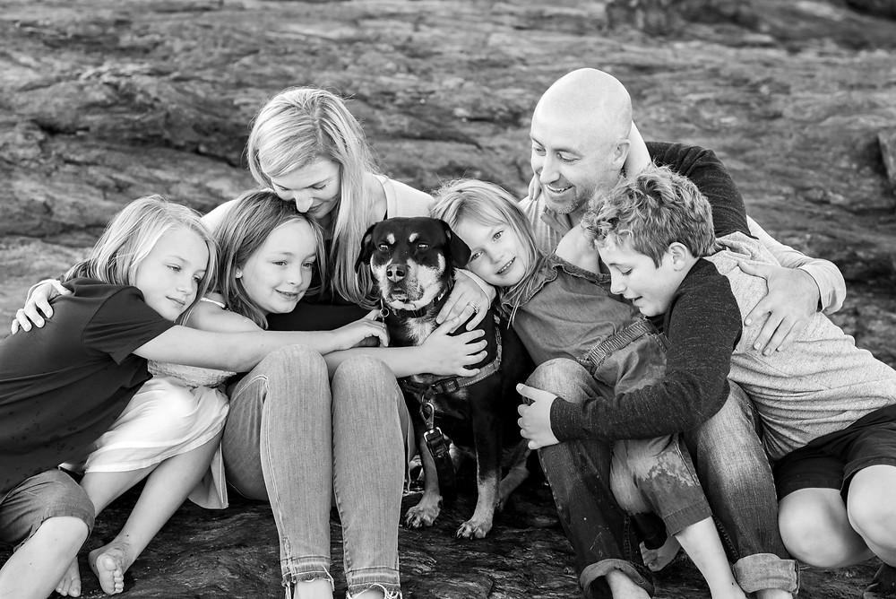 Family photograph on the beach
