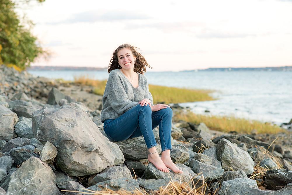 HS senior portraits, beach, girl