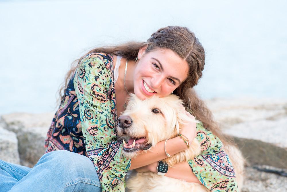 HS senior girl, portraits coastal with dog
