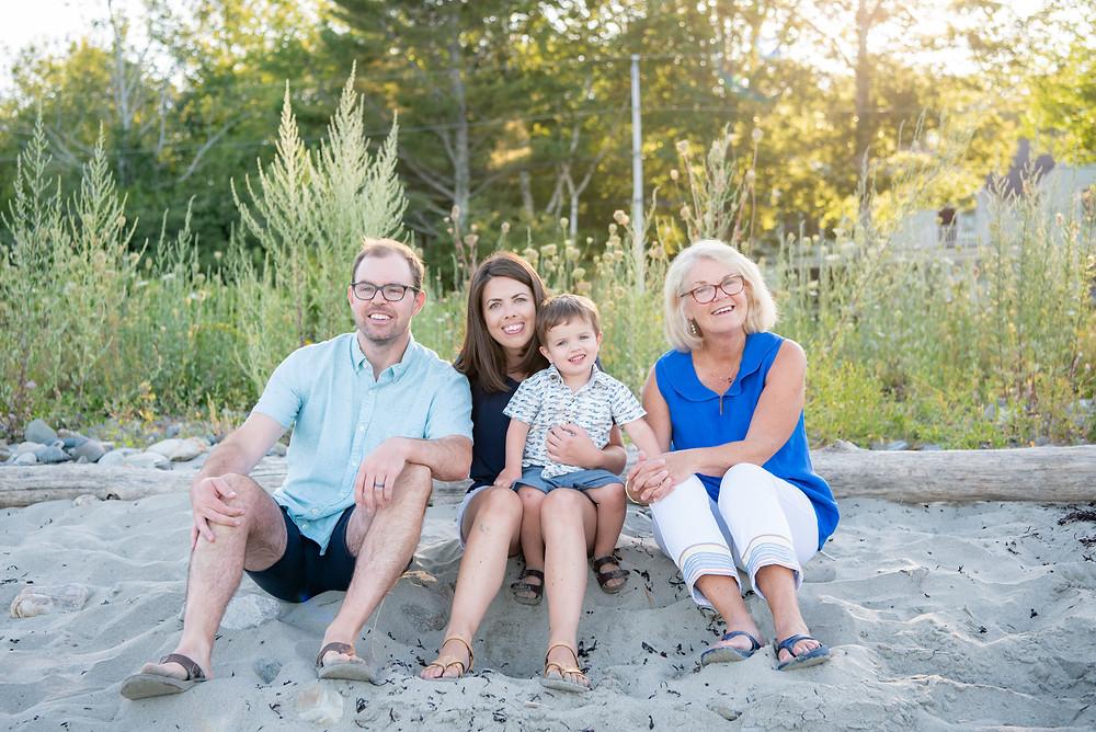 family on beach