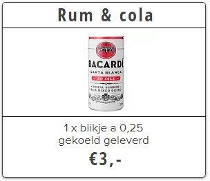 bacardi rum en cola thuisbezorgd door bierkoeier utrecht