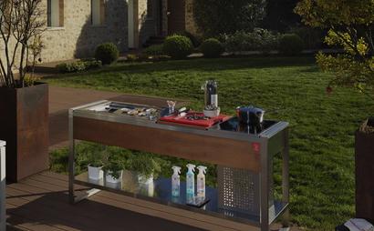 Piano cottura con Barbecue in acciaio