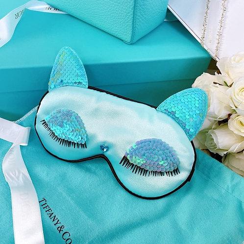 【送料無料】新色ブルー!保存袋付き スパンコール 猫耳 キャット 耳 ふわふわ アイマスク シルク おしゃれアイマスク ルームウェア プレゼント ギフト 彼女
