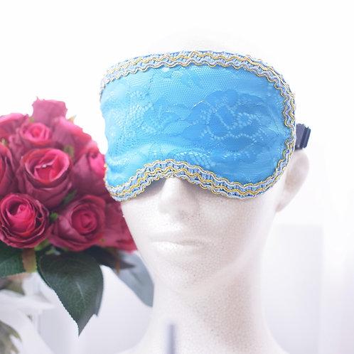 ブルーレース アイマスク シルク エレガント 機内 旅行用 おしゃれ アイマスク