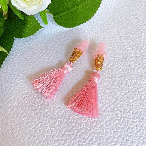 【雑誌掲載商品】ピンク×キューティピンク ピンク耳栓 高級 シルクタッセル ティファニーで朝食を 耳栓