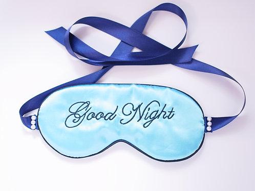 ネイビーリボン グッドナイト アイマスク シルクサテン ブルー