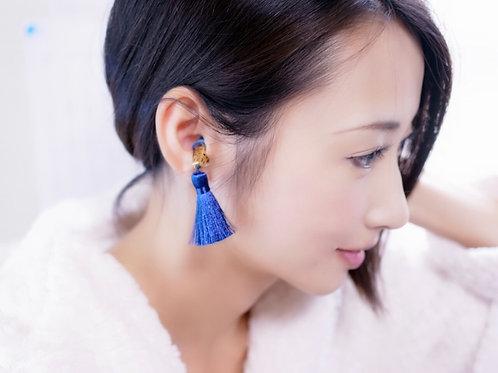 【minneレビュー★★★★★商品、楽天ランキング入賞】ブルー×ネイビー 耳栓 高級 シルクタッセル ティファニーで朝食を 耳栓