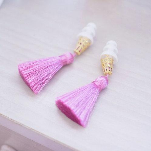 【送料無料】シルクタッセル 耳栓 おしゃれ耳栓 ローズレッド×ホワイト 可愛い耳栓 ギフト プレゼント 彼女 誕生日 かわいい耳栓