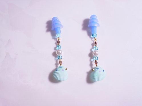 シェル クリスタル パール 貝殻 ブルー 透明 おしゃれ耳栓 耳栓