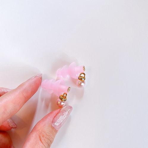 シンプル ピンクパール ピンク耳栓  耳栓 おしゃれ 耳栓 可愛い耳栓 コスチューム かわいい耳栓