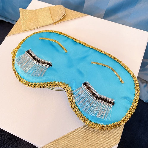 【送料無料】シルバーまつげ シルク ブルー ティファニーで朝食を アイマスク オードリーヘップバーン