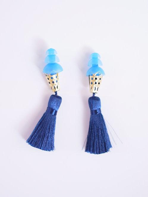 【楽天ランキング入賞】ブルー×ネイビー 耳栓 高級 シルクタッセル ティファニーで朝食を 耳栓