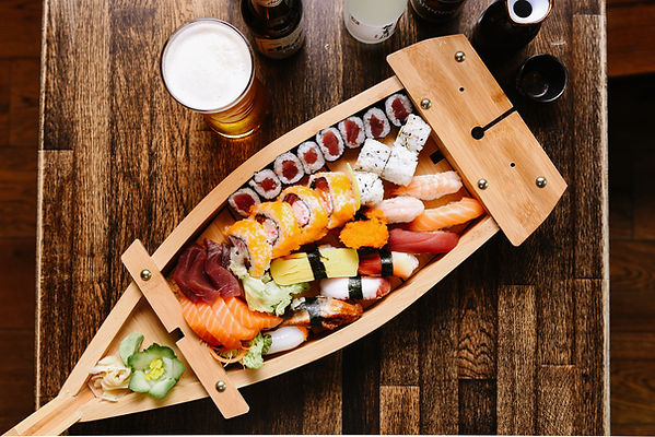 Collection of fresh Japanese sushi and sashimi takeaway in Dublin