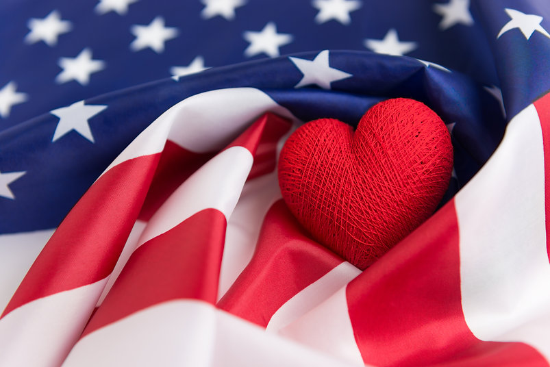 Heart shape on American flag, Independen