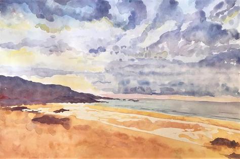 St Ives Beach - watercolour