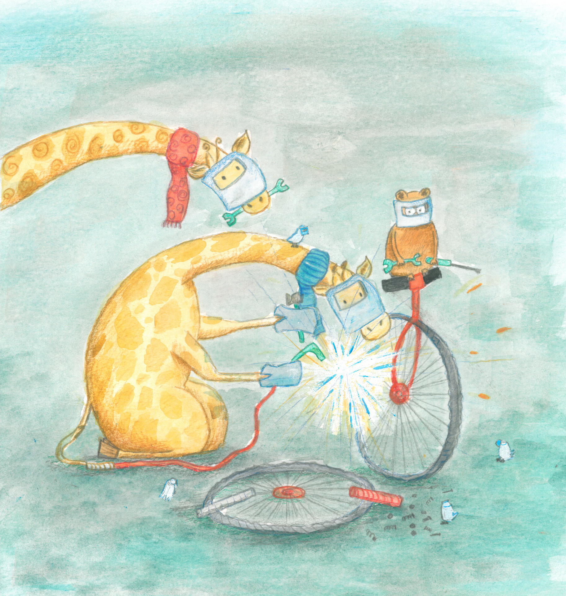 Who knew giraffe's could fix bikes?