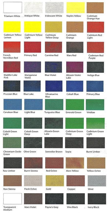 Colour chart of Sennelier Oil Paint Sticks - Online Art Store