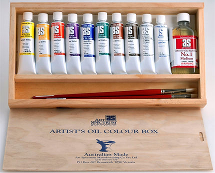 Oil Colour Set in a Wooden Box -