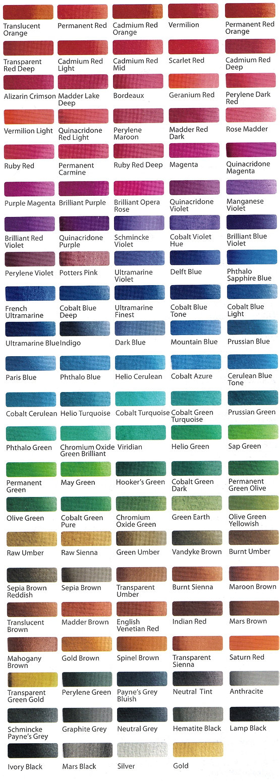 Colour Chart of Schmincke Horadam Aquarell Tubes - Art Supplies