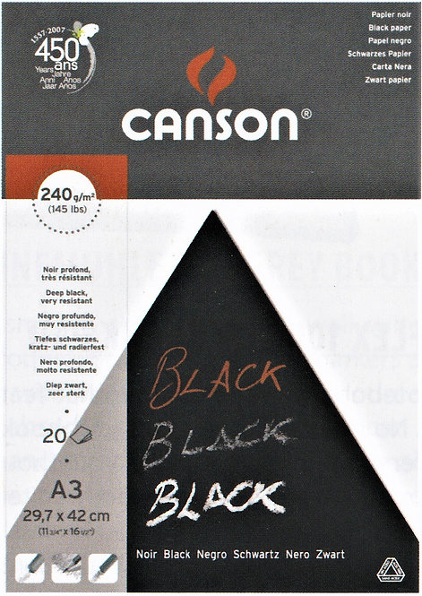 240 gsm Canson Black Pad, 20 Pages