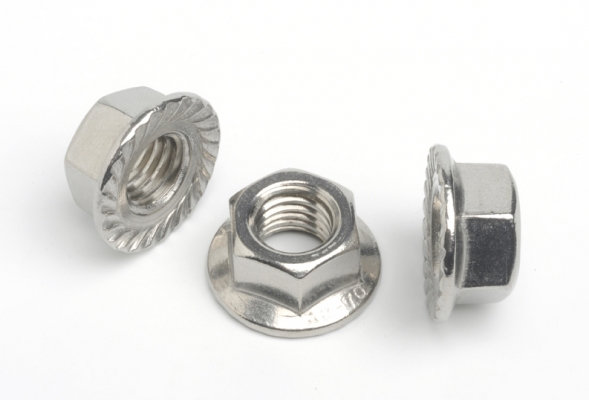 Stainless Steel Serrated Flanged Nuts Standard Coarse Pitch Pack of 10
