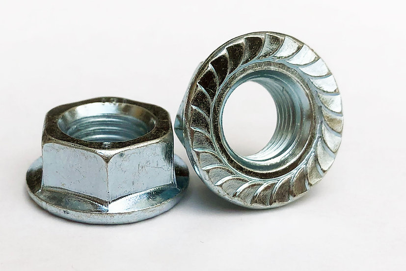 M12-1.25P Fine Pitch Toothed  Flange Nut Zinc