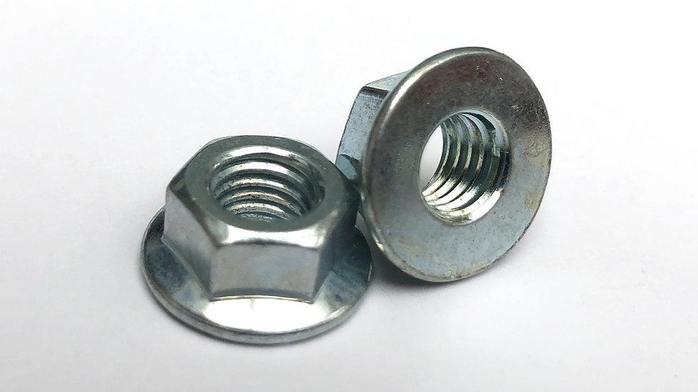 M8 Plain Flanged Nut Zinc Plated 12mm A/F JIS
