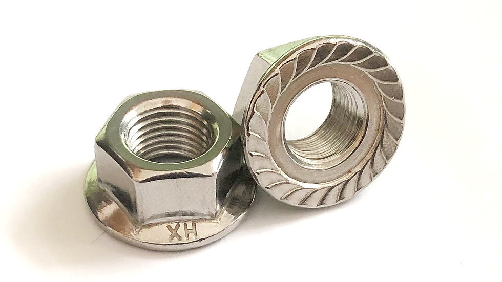 M12-1.25 Fine Pitch Toothed  Flanged Nut A2 Stainless