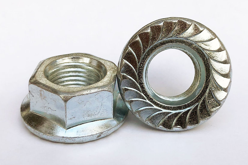 M14-1.50 Fine Pitch Toothed Flanged Nut Zinc Plated