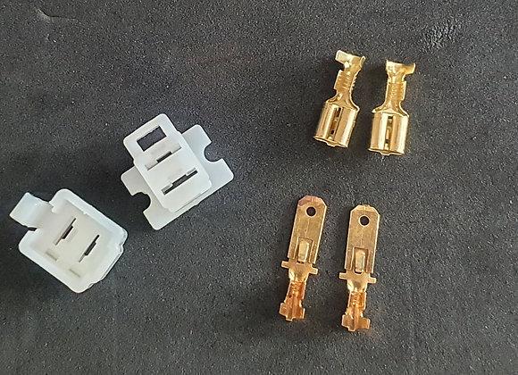 2 x 6.3 Pole Spade Male & Female Block Large