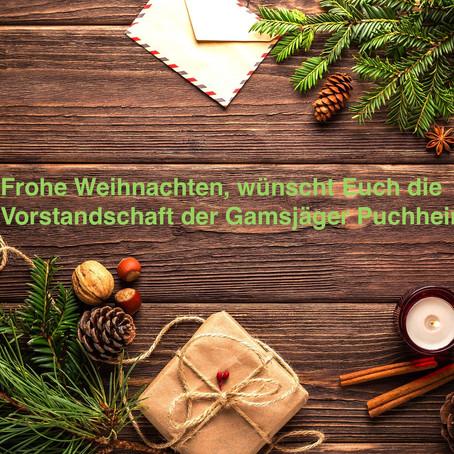 Die Vorstandschaft der Gamsjäger wünscht allen Mitgliedern eine frohe Weihnacht!