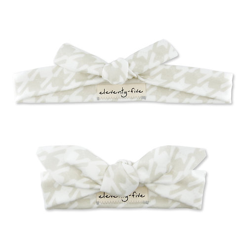 Catstooth in Natural + White Organic Knotted Headband in Adult and Baby