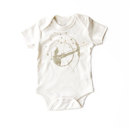 Sagittarius Organic Baby Bodysuit in Natural [November 22 - December 21]